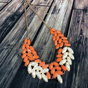 Orange Chunky Bib Style Necklace